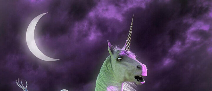 Nickeys, skeleton riding Unicorn