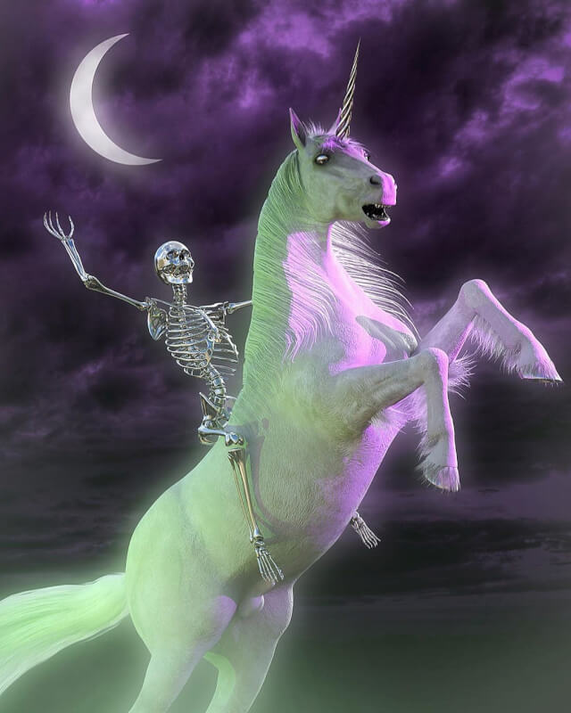 Nickeys, skeleton riding Unicorn